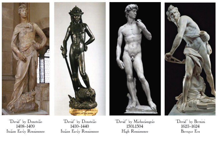 a comparison of michelangelos and berninis davids Read this essay on checkpoint: comparison of three sculptures unlike michelangelo's david, bernini's david is not posed according to classical traditions.