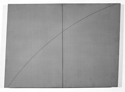 "A Curved Line Within Two Distorted Rectangles"" by Robert Mangold"