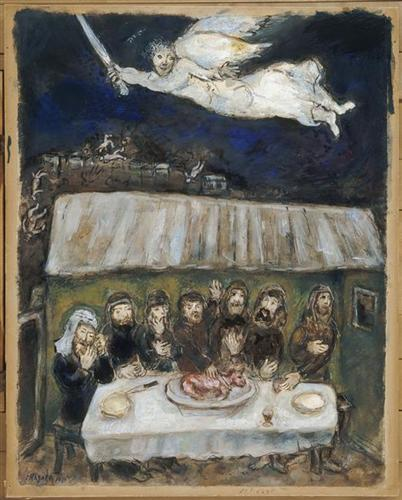 """The Israelites are eating the Passover Lamb"" by Marc Chagall"