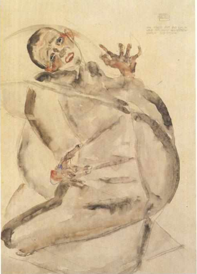 """Self-portrait as a prisoner"" by Egon Schiele, 1912"