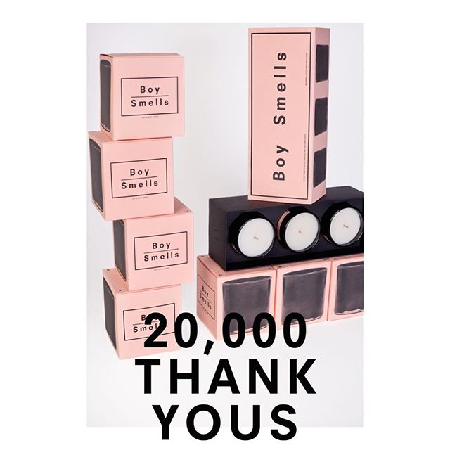 20/20! Your support is so much appreciated. 20% off the entire site for the next 2 days as a thank you from us to all 20K of you. Use code 20TWENTY at check out. #boysmells #candles #ismellbs #20k