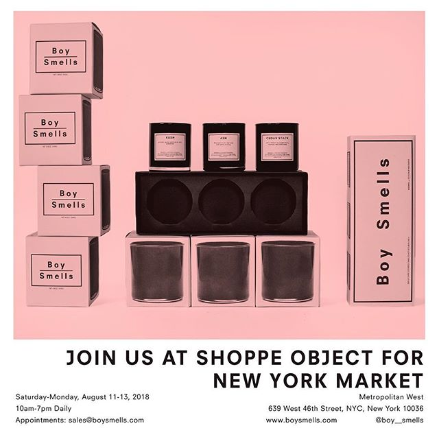 BE SEEING YOU. @boy__smells will be exhibiting at the inaugural  @shoppeobject show in #NYC the following weekend. Will you be there? #shoppeobject #boysmells #showtime