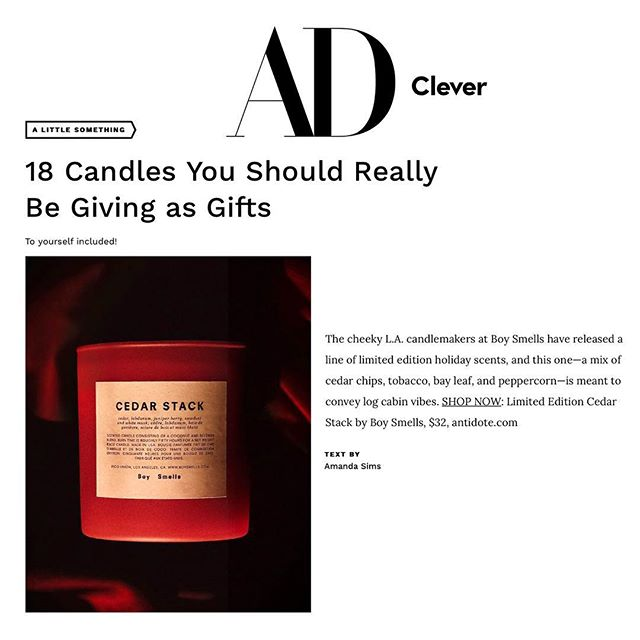 PRESSING NEWS. Our limited edition Cedar Stack in @getclever by way of @archdigest's holiday gift guide.  Almost out of stock online, but available via @antidotesworld! 📷 by @roadtoglow #boysmells #candles #ismellbs #happyholidays #giftguide2018