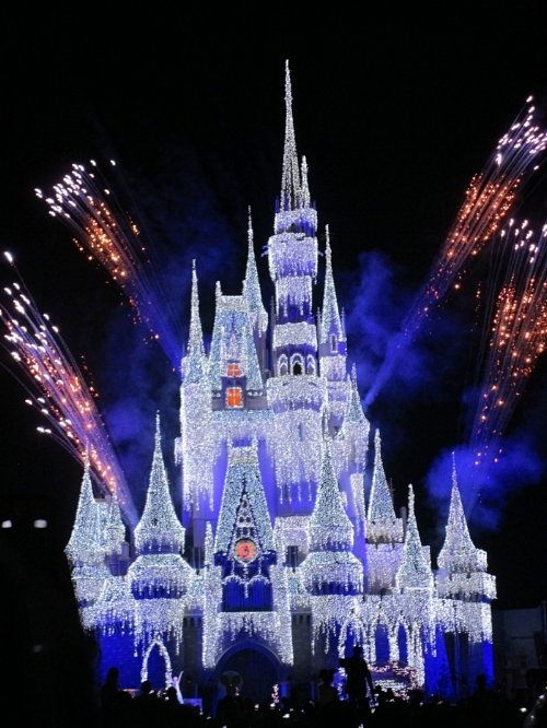 How gorgeous is Cinderella's Castle at Christmas time!