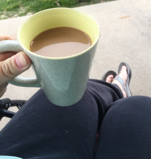 Coffee outside is great.