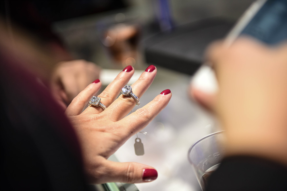 jenna trying on two GORGEOUS engagement rings.