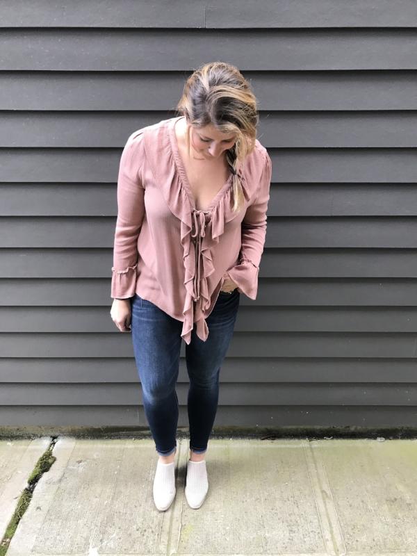 shop //  ruffle top  +    jeans    +    mule booties