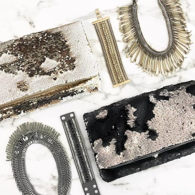 shop the look  //  sequin clutch only available in black/pewter