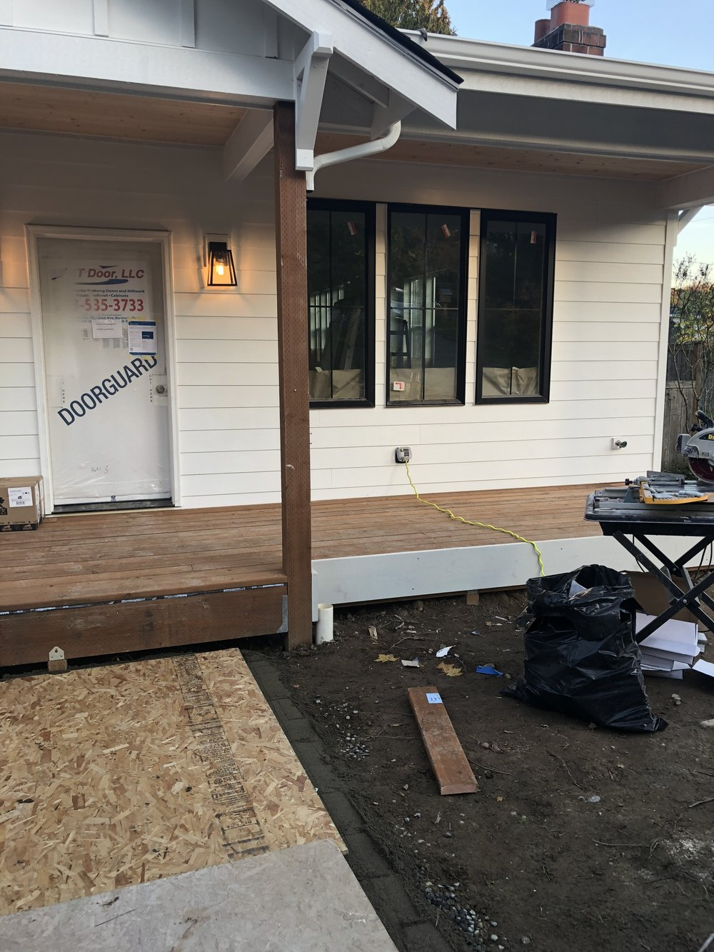 Front porch being built.