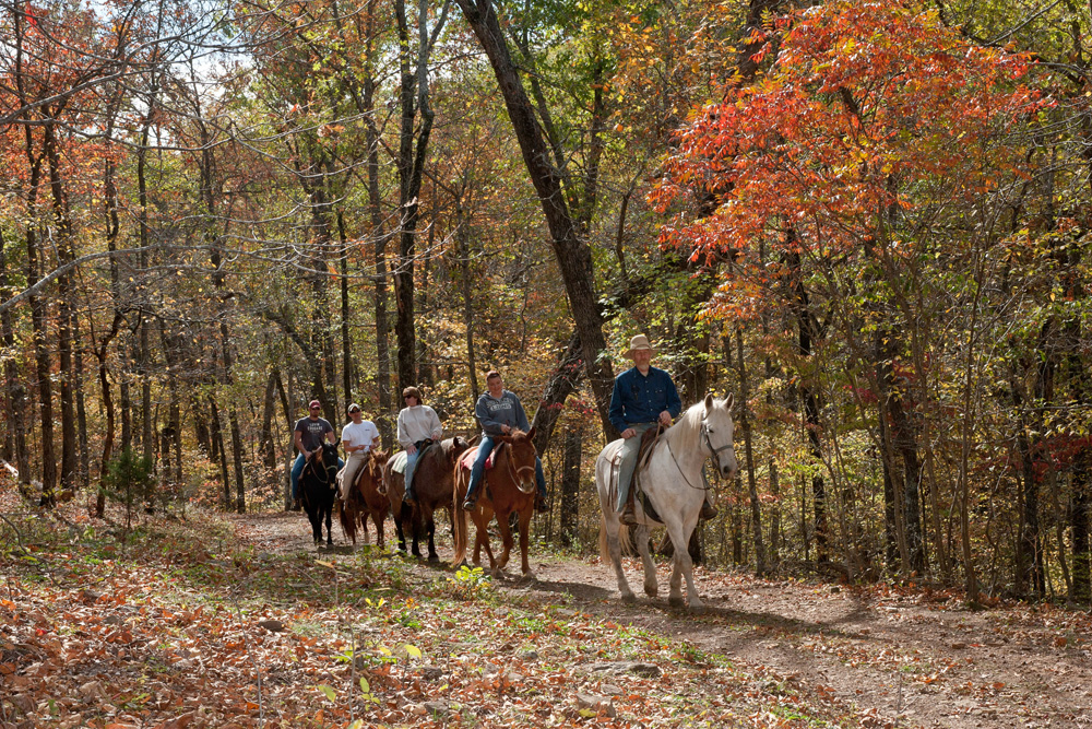 Horseback riding at Rimrock Cove Ranch in the fall