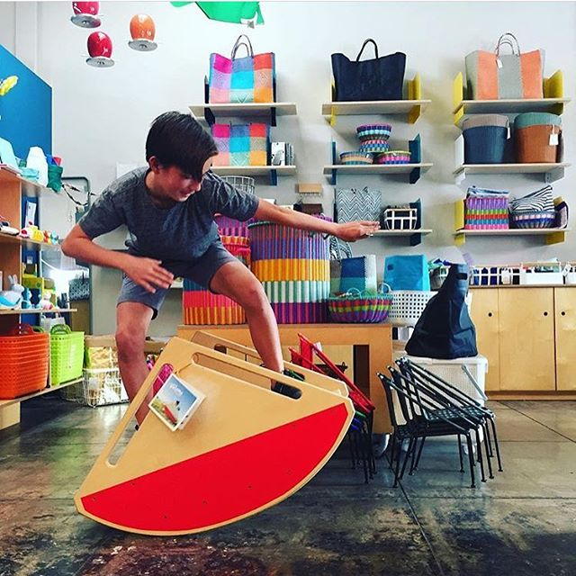 Riding the waves. Having fun @plasticastore in LA! Go, play on a teeter totter!
