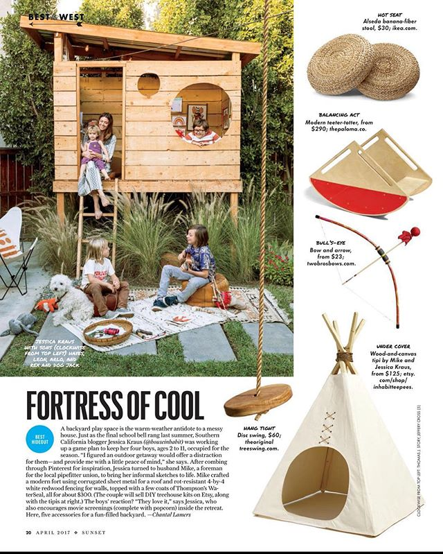 Did you see us in the latest @sunsetmag?! Our friends @houseinhabit and @sunsetmag listed us as one of the must-haves for creating that magical and cool kid fort. And @houseinhabit certainly knows. 🙌🏽✨❤️ Pick up the April issue to read on.