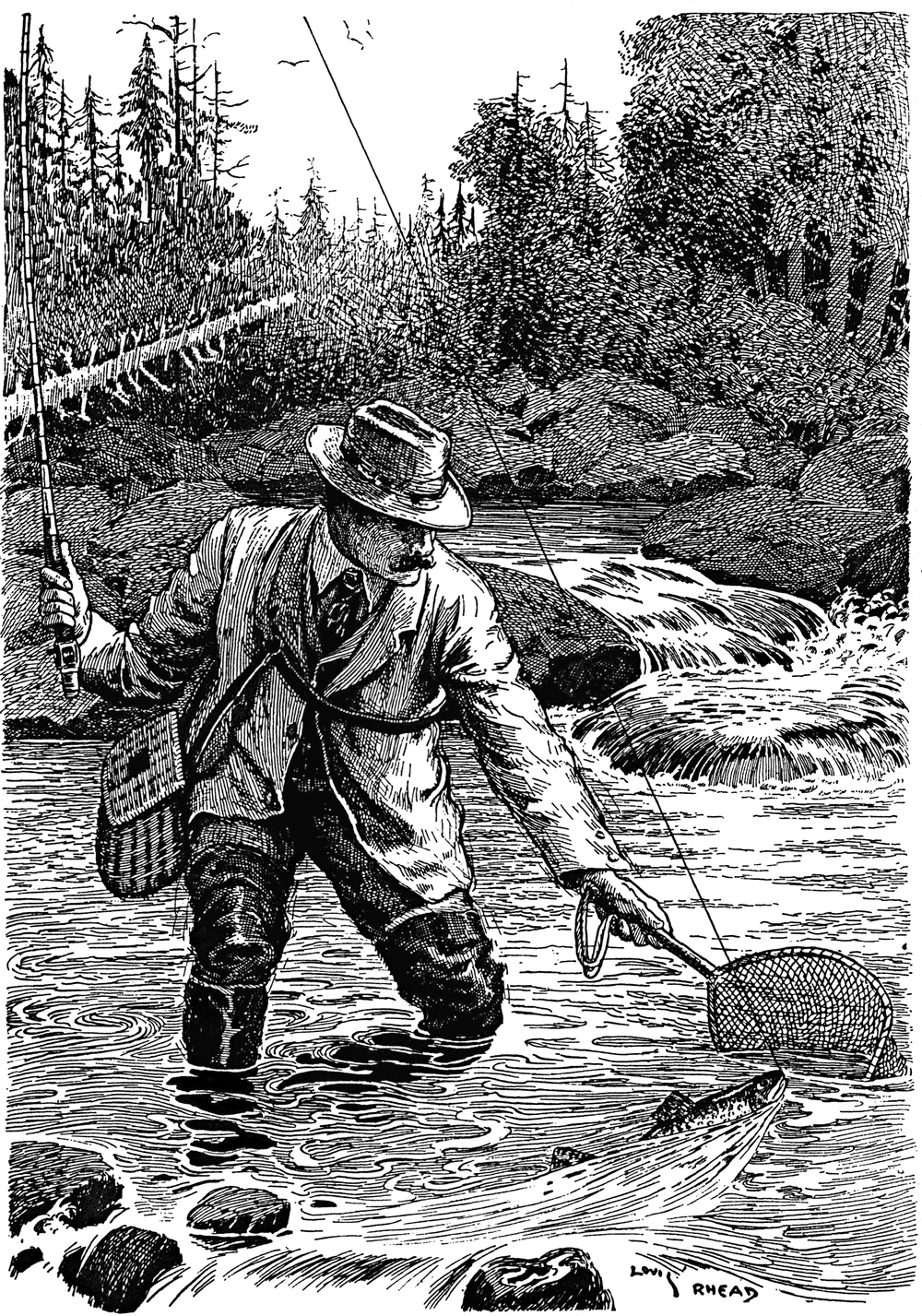 Louis Rhead fly fishing illustration