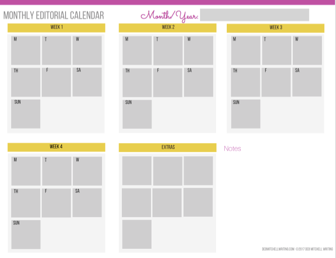 Monthly Editorial Calendar Template for Interior Designers