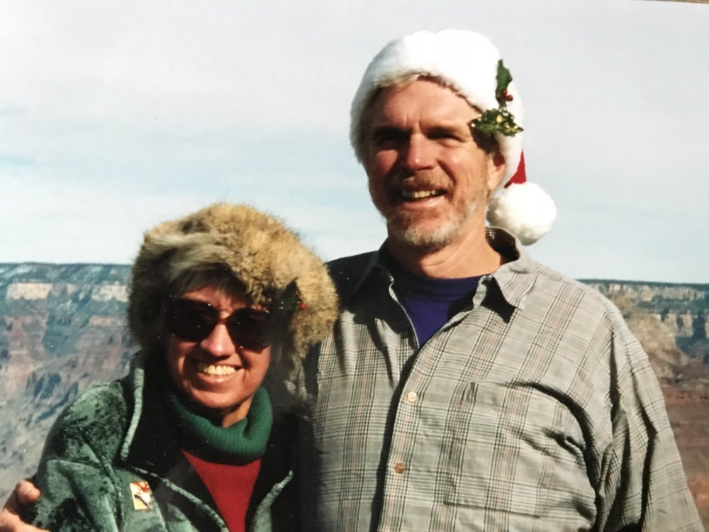 At Grand Canyon December 2002. Anne's hat is hand-made, with real fur.