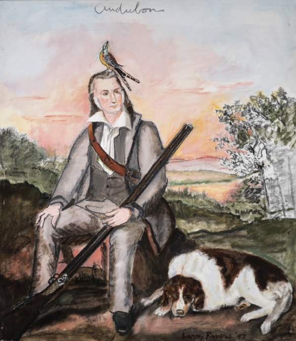 "Larry Rivers |  Portrait of James Audubon (Artist as Hunter)  | 1997 | Oil and charcoal on canvas | 47"" x 35"""