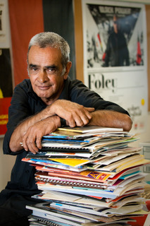 Professor Gary Foley with just some of the contents of The Aboriginal History Archive. Picture courtesy of Victoria University