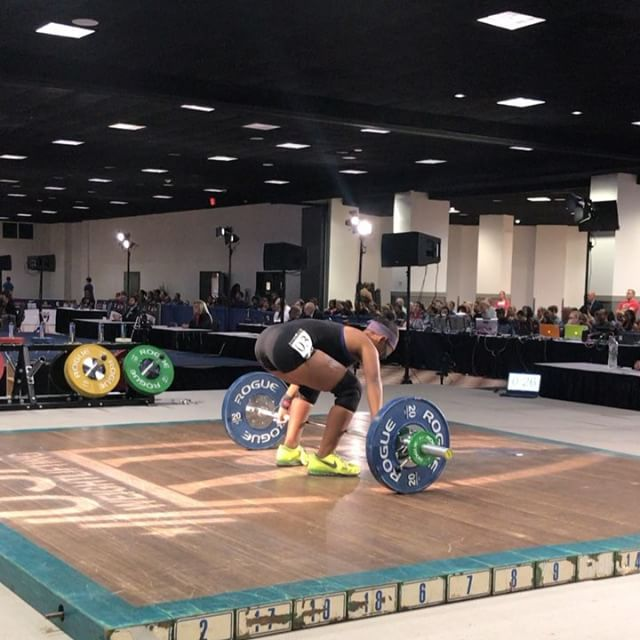 @maryah53kg with a 139 kilo total to finish off the night for us. Great day for our team!  #trainlikeanolympian #floridaweightlifting #usaweightlifting #weightlifting #youthweightlifting #juniorweightlifting #mastersweightlifting #wod #crossfit #rouge  #hookgrip #nikeweightlifting #nike #reebok #cleanandjerk #snatch #squat #frontsquat  #halterofilia #levantamientodepesas #youthathlete #chineseweightlifting #ao2 #2018ao2 #americanopenseries