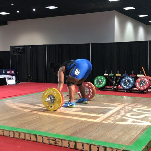 @the_shala_mcmillan with 100/124 for a 4 kilo personal best total. The clean and jerk deserves a lot of credit for being a gutsy save, but does not reflect our training for this meet. There is more I promise and it will be put on the platform soon.  This meet marks one year since having her rotator cuff surgically repaired, and I am VERY PROUD of how well Sha'la has believed in me, and in the process.  Back to work perfecting technique, gaining strength, and learning how to carry a champions mindset on and off the platform. @florida_weightlifting #trainlikeanolympian #floridaweightlifting #usaweightlifting #weightlifting #youthweightlifting #juniorweightlifting #mastersweightlifting #wod #crossfit #rouge  #hookgrip #nikeweightlifting #nike #reebok #cleanandjerk #snatch #squat #frontsquat  #halterofilia #levantamientodepesas #youthathlete #chineseweightlifting #ao2 #2018ao2 #americanopenseries
