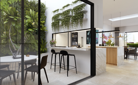 A very effective design that combines the kitchen and alfresco dining area within the one statement.