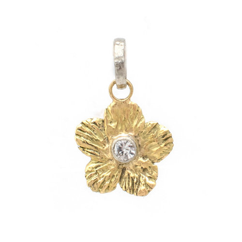 18k forget me not pendant with 4mm white sapphire stone susan 18k forget me not pendant with 4mm white sapphire stone aloadofball Gallery