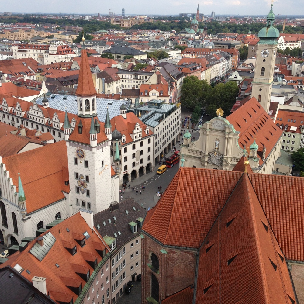 There is a church that you can pay 2Euros and climb up tot he top for this awesome 360 view of Munich. Corey made an appearance and stayed away from the edges (heights!) but I couldnt get enough of this perspective.
