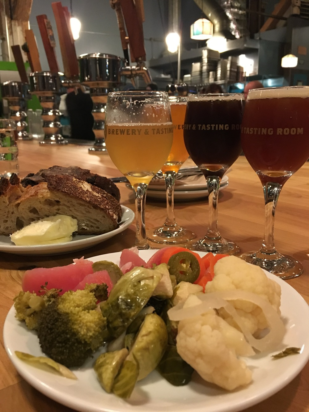 bread & butter, pickled veggies, and flight at Hair of the Dog Brewery