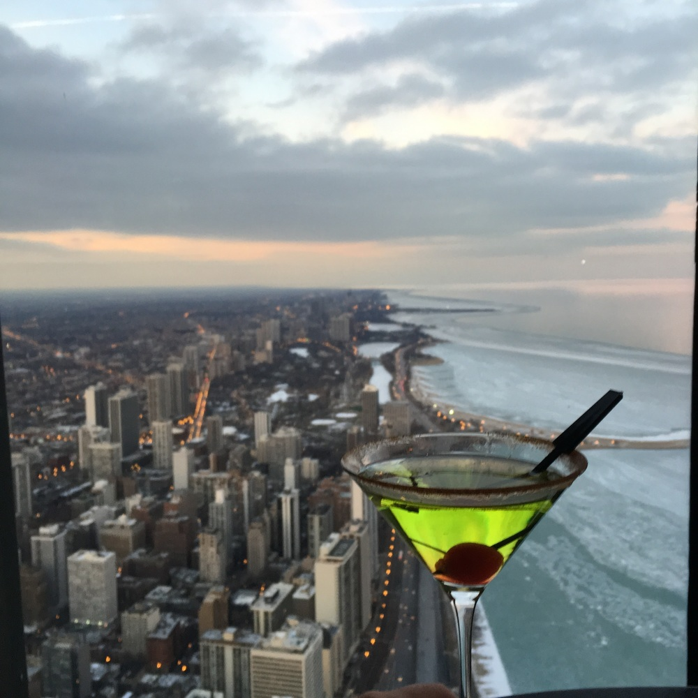 Looking North as the dusk sets in. Get this shot by touching martini glass in your smart phone screen to focus... get the perfect balance and voila!