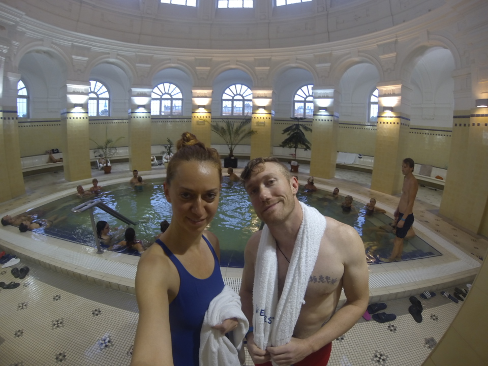 Inside the Bath house sporting our rented suits! Lesson learned... pack a swimsuit!
