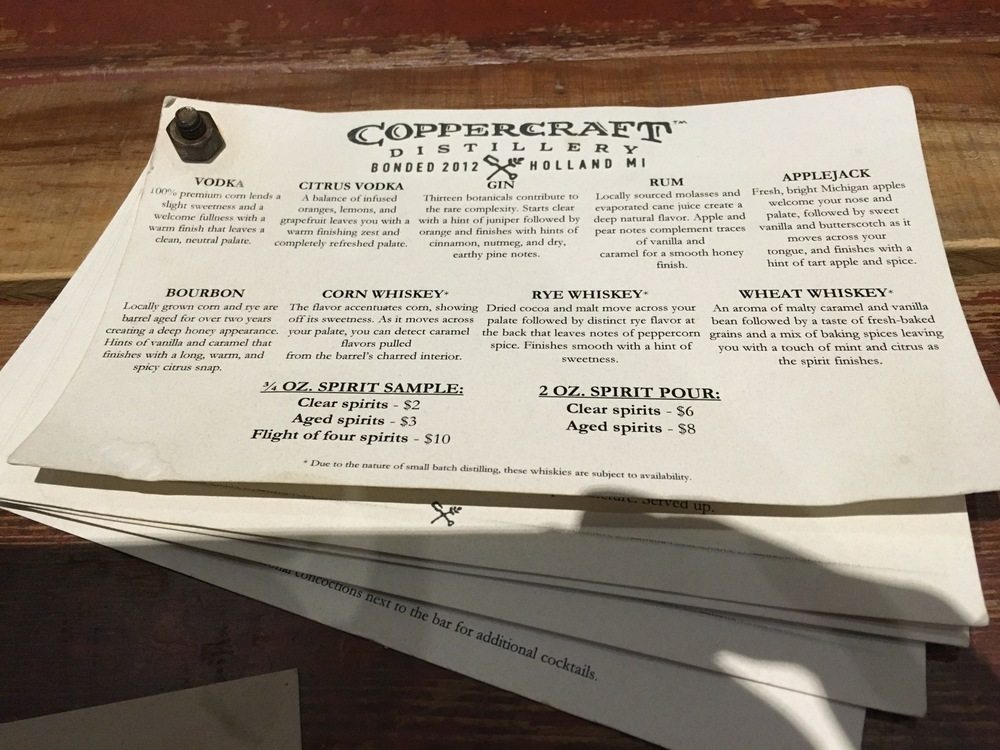 menu of house made spirits