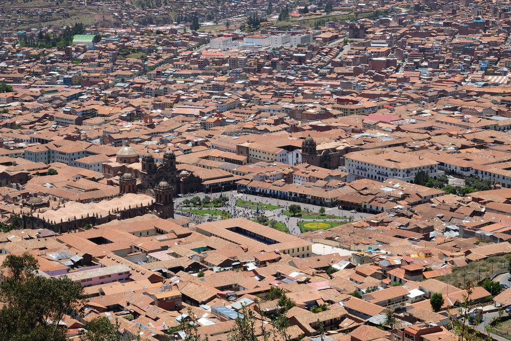 view of cuzco center square from a mountain overlook