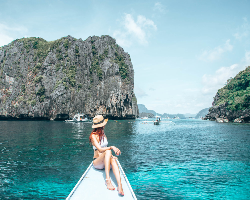 snorkel & lunch spot on our private tour boat. el nido, palawan, Philippines