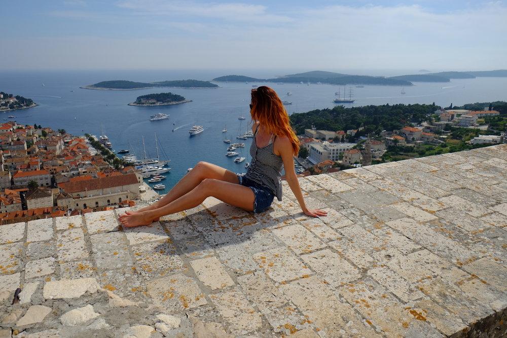 climbing the castle on hvar island