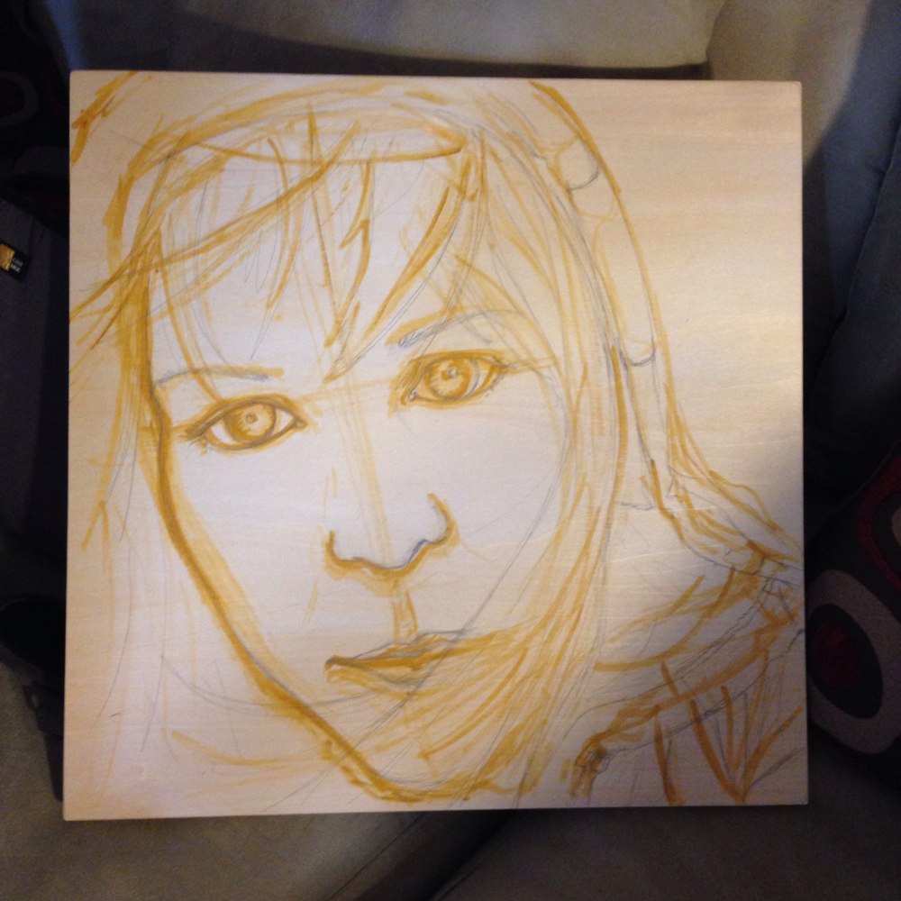 Sketched directly on the board in Yellow Ocher