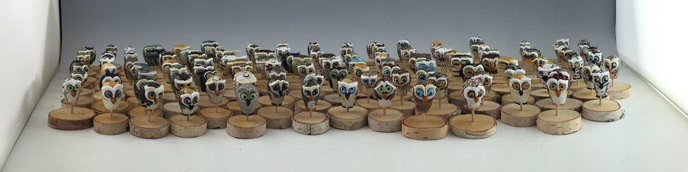Loooook!  A Parl-o-rama! (get it?! A Parliament of Owls in a Panoramic Photo??)