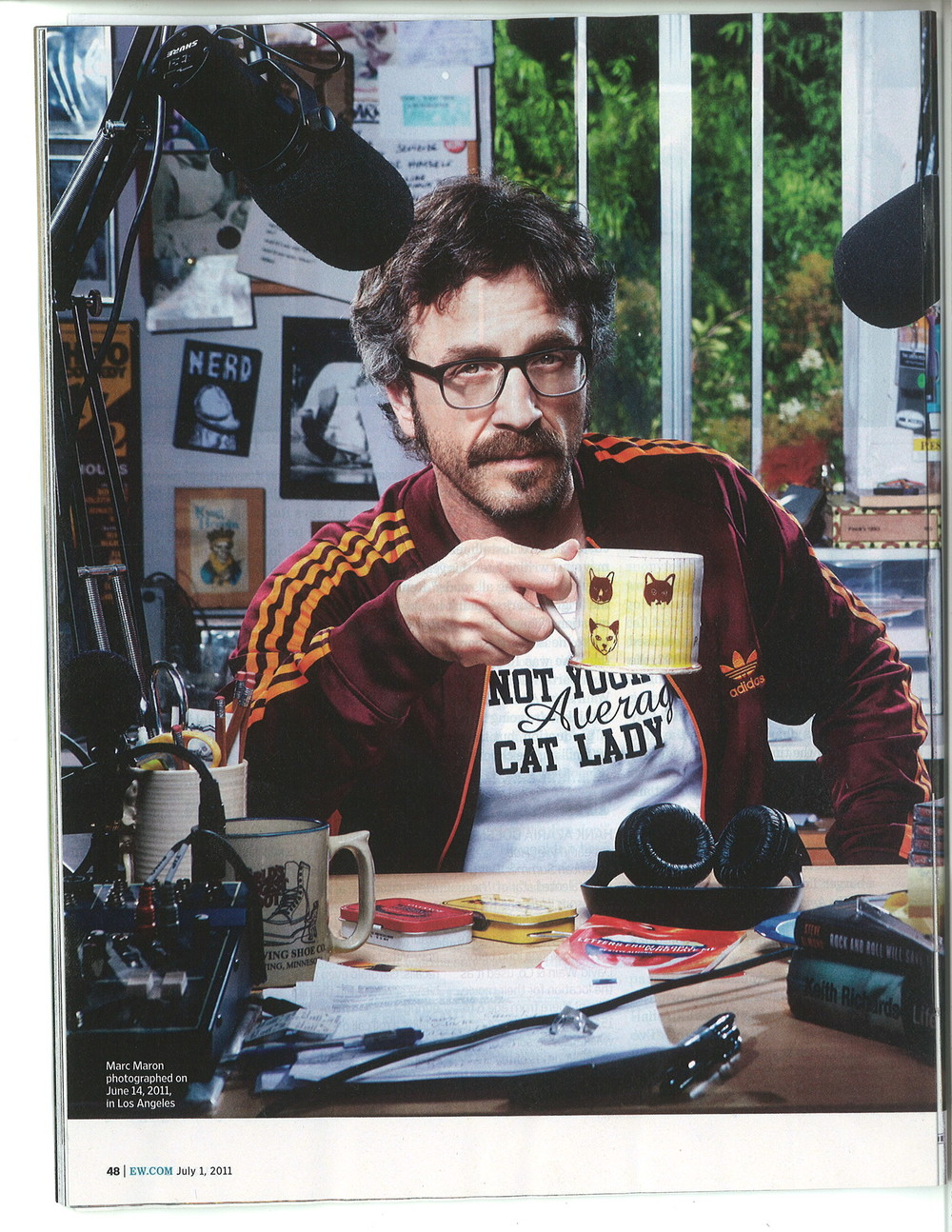 Marc Maron with Brian R. Jones' first WTF cat themed mug given to the comedian as a gift in 2011.