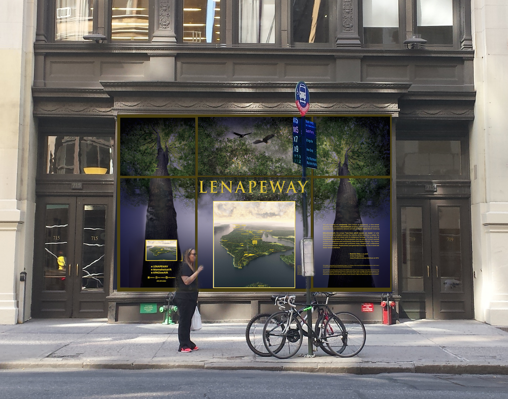"""Lenapeway,"" an installation by artist Beatrice Glow and the Wayfinding Project at NYU's Asian/Pacific/American (A/P/A) Institute, will be on 24-hour view in the street-level windows of 715 Broadway (at Washington Place) from October 10 to December 9."
