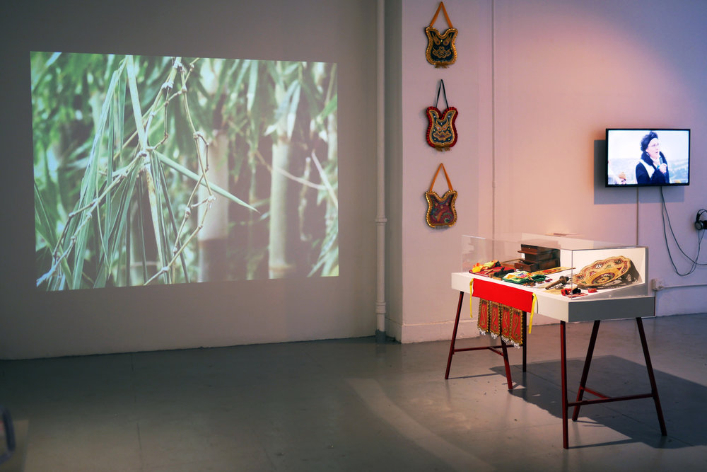 Installation view of Migratory Museum of Taparaco Myth at the Elizabeth Foundation for the Arts.