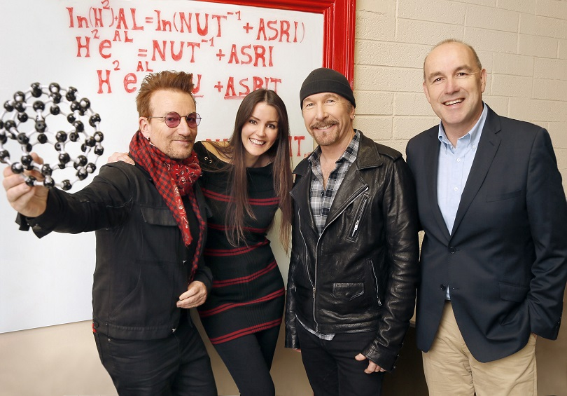 "Nuritas founder, Nora Khaldi (center left) with U2. ""There's more data in a piece of apple than all of social media"" – Nora Khaldi, Founder and CTO of Nuritas"