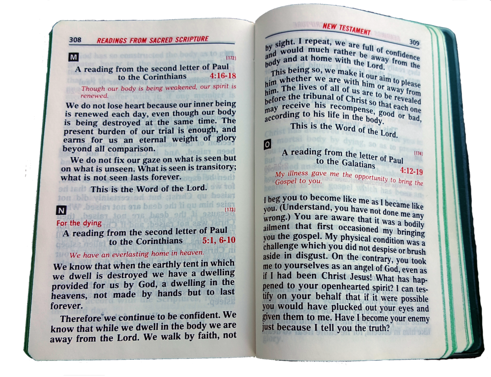 "Father David Harvey's Rites of Anointing Book. The text in red, above the scripture from Corinthians reads ""For the dying"""