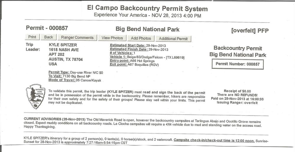 Our Backcountry Permit