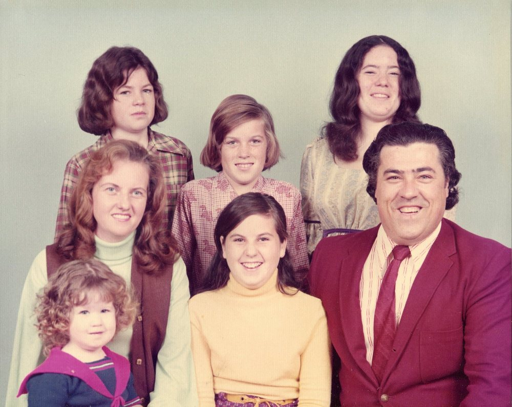 """The hair family"" 1974 Paul and Dian Spitzer, Laurie, Ben, Steven, Sharon and Carol. Joy would come along a few years later."