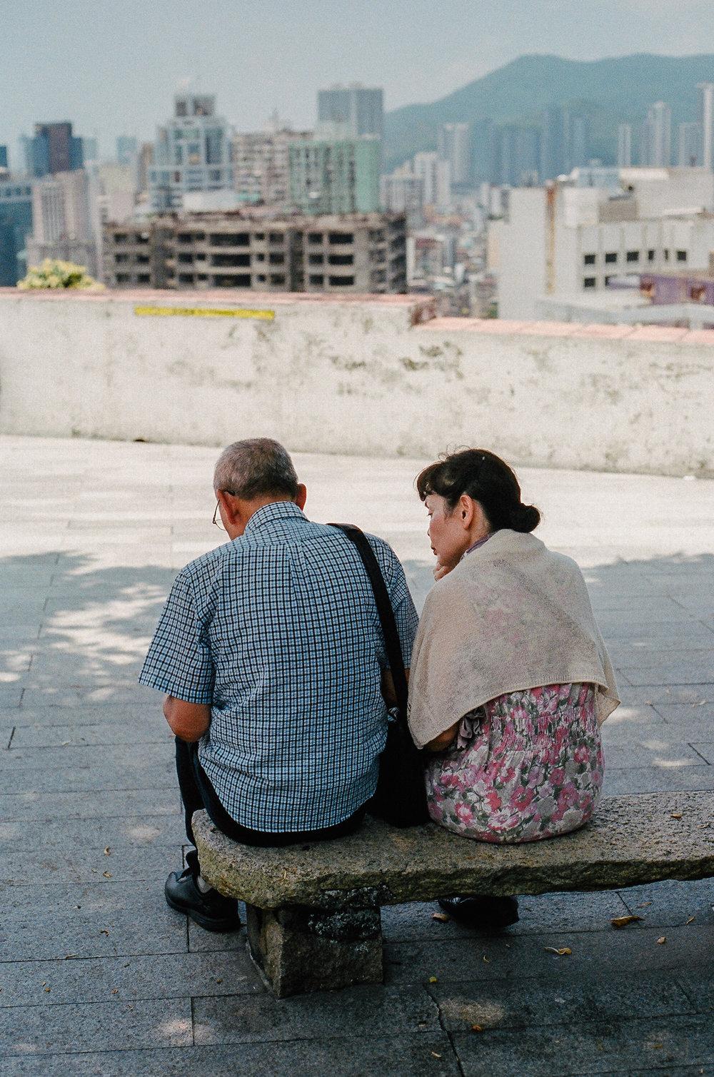 elderly couple, macau | portra 400
