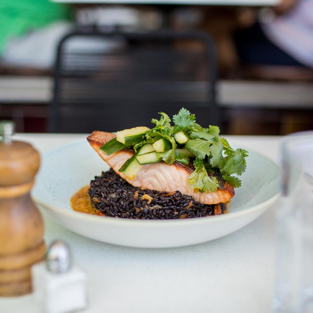 market fish, warm black rice salad, chilli & pickled cucumber -