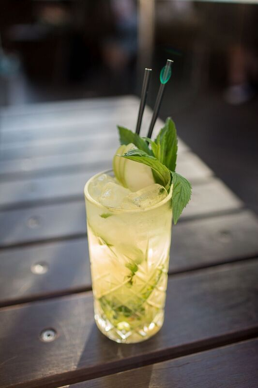 apple & ginger mojito - rum, fresh apple juice, ginger, lime topped with soda