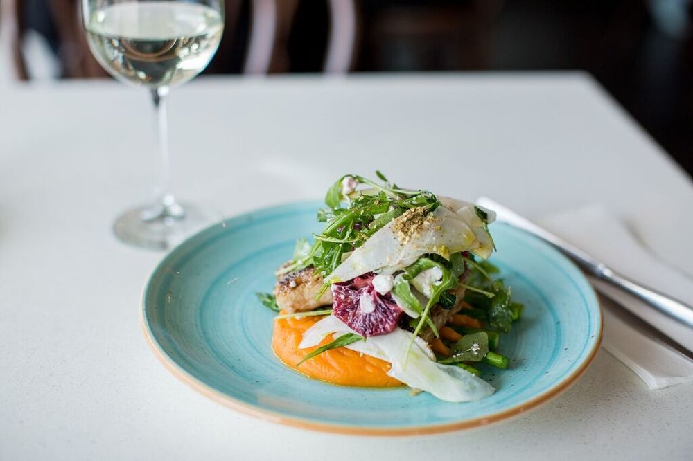 market fresh fish - with sweet potato skordalia, local asparagus, zaatar, shaved fennel, blood orange & goats cheese salad