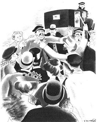 Viñeta publicada en un periódico madrileño de la época. Una muchedumbre detiene a un hombre acusado de ser anarquista.