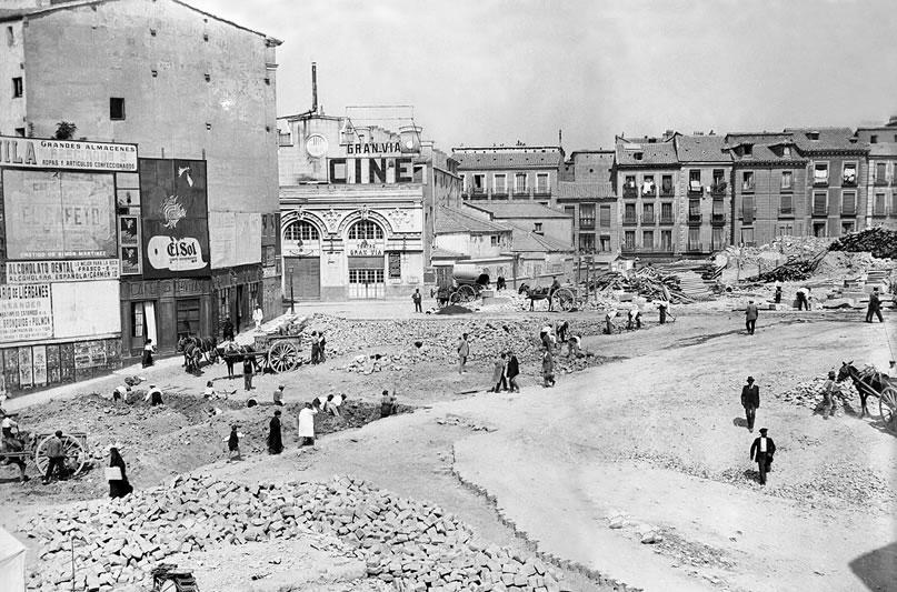 Inicio de las obras de Gran Vía, alrededor del año 1910