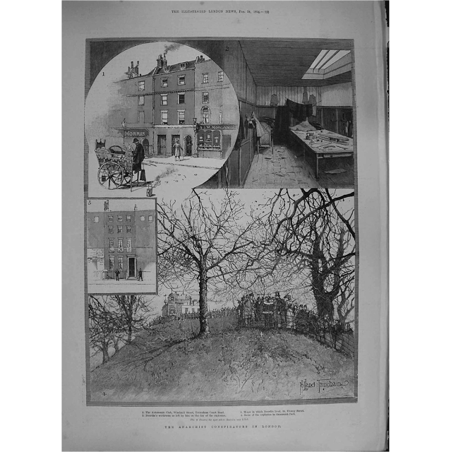La noticia en un periódico de la época. Secuencia del atentado: la habitación de Bourdin y los alrededores del Real Observatorio