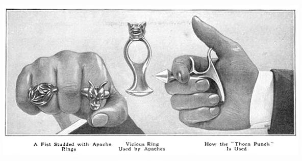 Anillos y diversos objetos transformados por los apaches en armas